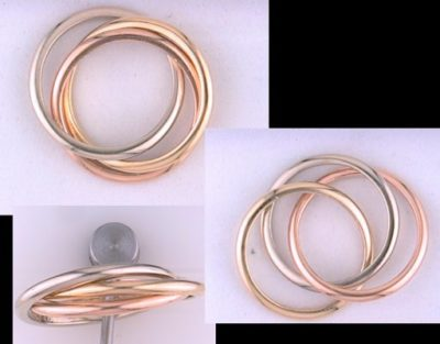 1.75mm ea 14K Yellow, White, and Rose Gold Tri-Ring Wedding Band (4