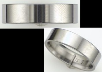 6mm Pipe Cut Titanium Wedding Band with High Polish