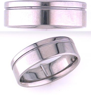 7mm Off-set Groove Titanium Wedding Band
