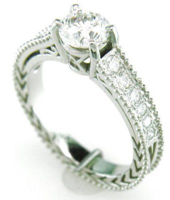 Austin & Warburton Engagement Ring 1.17 ct tw Diamonds in 18K White Gold Antique Style Engagement Ring