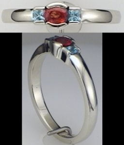 Austin & Warburton Rings Cool Colored Stone Rings 0.26 ct tw Orange Sapphire with 0.11 ct tw Blue Topaz in 14K White Gold Ring