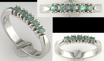 Austin & Warburton Rings Cool Colored Stone Rings 0.37 ct tw Tsavorite Garnets (five stones) in 14K White Gold Ring