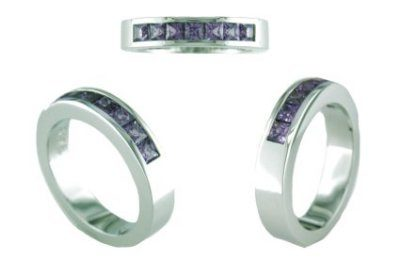 Austin & Warburton Rings Cool Colored Stone Rings 1.02 ct tw Purple Sapphires in 18K White Gold Ring-2