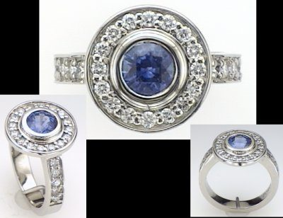 Austin & Warburton Rings Cool Colored Stone Rings 1.24 ct tw Round Blue Sapphire Surrounded by 0.58 ct tw Diamonds in 18K White Gold Ring-2