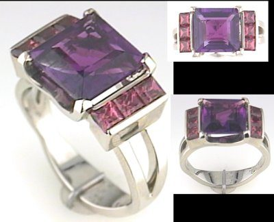 Austin & Warburton Rings Cool Colored Stone Rings 10mm Square Amethyst with 6 Rhodolite Garnets in 18K White Gold Ring-2