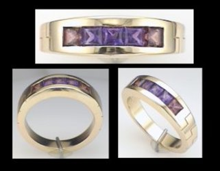Austin & Warburton Rings Cool Colored Stone Rings 3mm Princess Cut Garnets & Amethysts in 14K Yellow Gold Ring-2