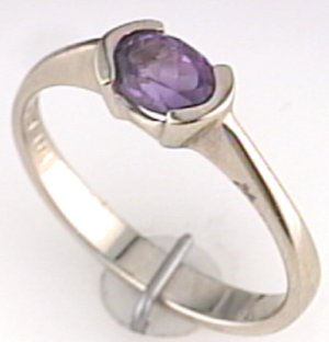 Austin & Warburton Rings Cool Colored Stone Rings 6x4 Oval Amethyst in 14K White Gold Ring