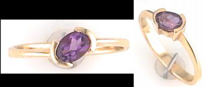 Austin & Warburton Rings Cool Colored Stone Rings 6x4mm Oval Purple Amethyst in 14K Yellow Gold Ring-2