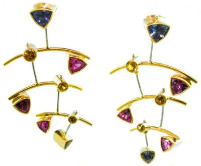 Professional Goldsmith's Award - Platinum & 18k Yellow Gold Earrings with Blue, Pink & Yellow Sapphires