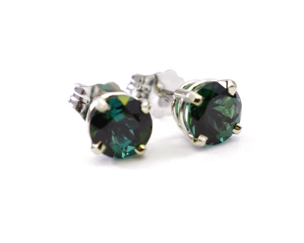 Green Tourmaline 5mm Round 14k White Gold Stud Earrings