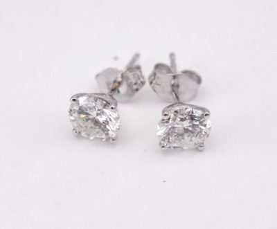 1.62 ct tw. Diamond Stud Earrings 14k white gold martini style